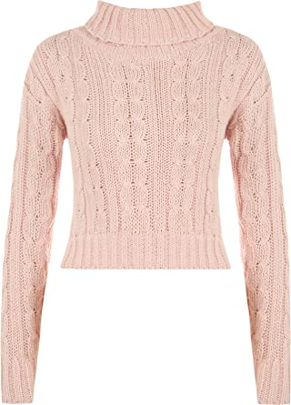 c5696f6c4d97 WearAll Women's High Polo Neck Chunky Cable Knitted Crop Top Ladies Jumper  - Pink - 12