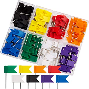 AIEX 160 Piezas Chinchetas de Mapa de Plástico Pines Agujas para Tablero Multicolor Forma de la Bandera (35mm): Amazon.es: Electrónica