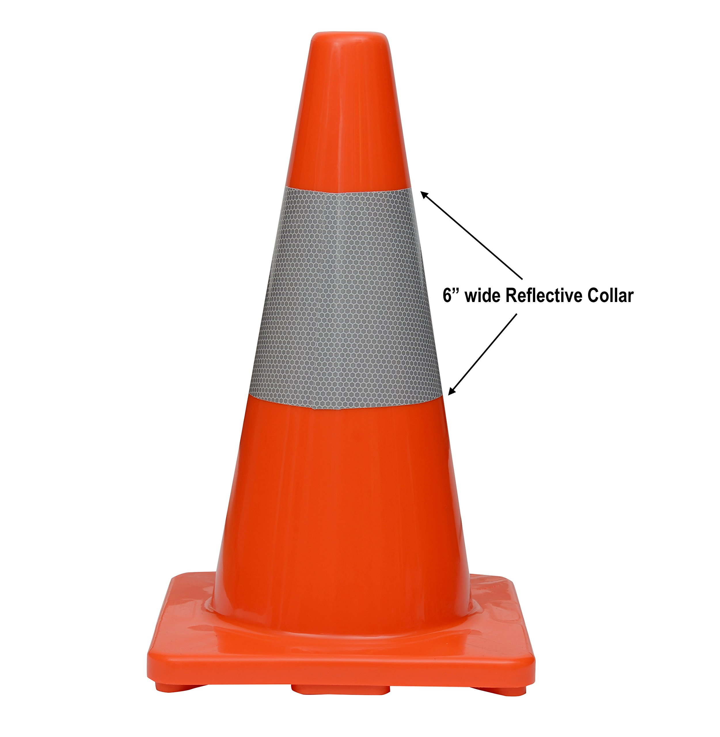 (Set of 12) CJ Safety 18'' PVC Traffic Safety Cones With Reflective Collar (12 Cones)