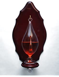 Hand Blown Weather Glass Barometer With Wooden Plaque And Drip Cup