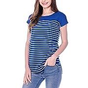 Smallshow Women's Navy Stripe Maternity Nursing Top Short Sleeve T-Shirt for Breastfeeding (L)