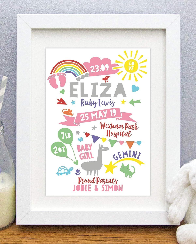 Rainbow Sunshine Baby Personalised Birth Details Print Gift Nursery Art Picture