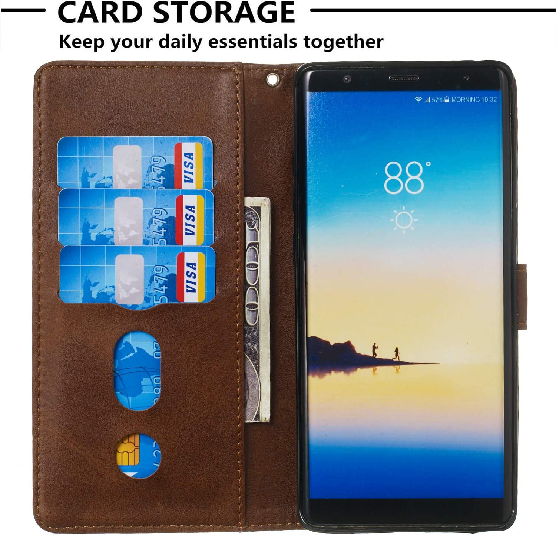 HUDDU Handyh/ülle Kompatibel mit Samsung Galaxy Note 8 H/ülle Leder Wallet Schutzh/ülle 3 Kartenf/ächer Rei/ßverschluss Brieftasche Magnetverschluss Filp Tasche PU Case St/änder Lederh/ülle Wristlet Blau