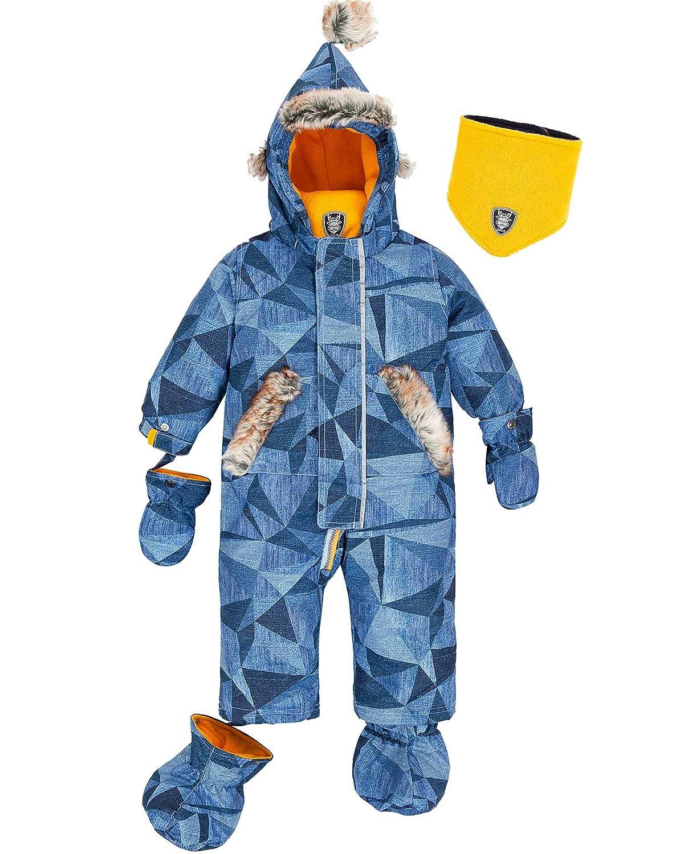 Deux par Deux Little Boys' 1-Piece Snowsuit Geo Jeans, Sizes 12M-24M