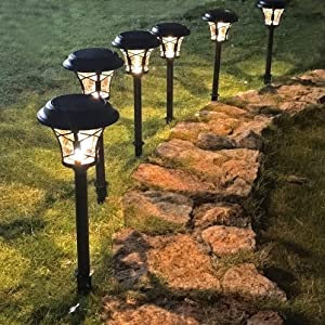 Mosloly Solar Pathway Lights Outdoor 25 Lumen, Solar Powered Garden Lights Waterproof, 3000K Warm White Light Auto On/Off Sun Powered LED Landscape Lamps for Lawn, Patio, Garden and Walkway(6 Pack)