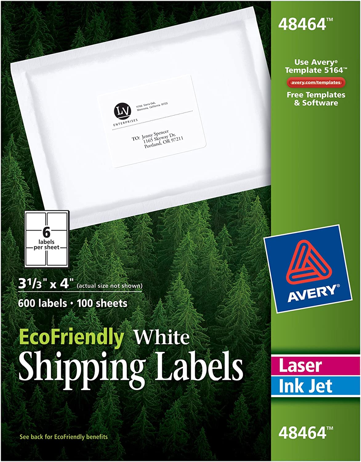 AVERY White EcoFriendly Shipping Labels, 3.33 x 4 Inches, Box of 600 (48464): Office Products