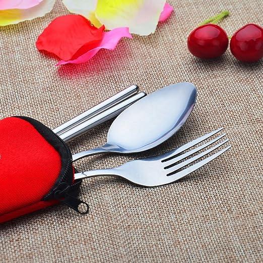 Lunji Couverts de Table avec /étui M/énag/ère en INOX Rouge Cuill/ère Fourchette Baguettes