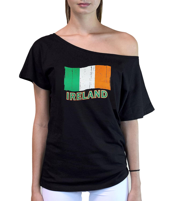 Juniors Ireland Flag Off-Shoulder T-Shirt Black