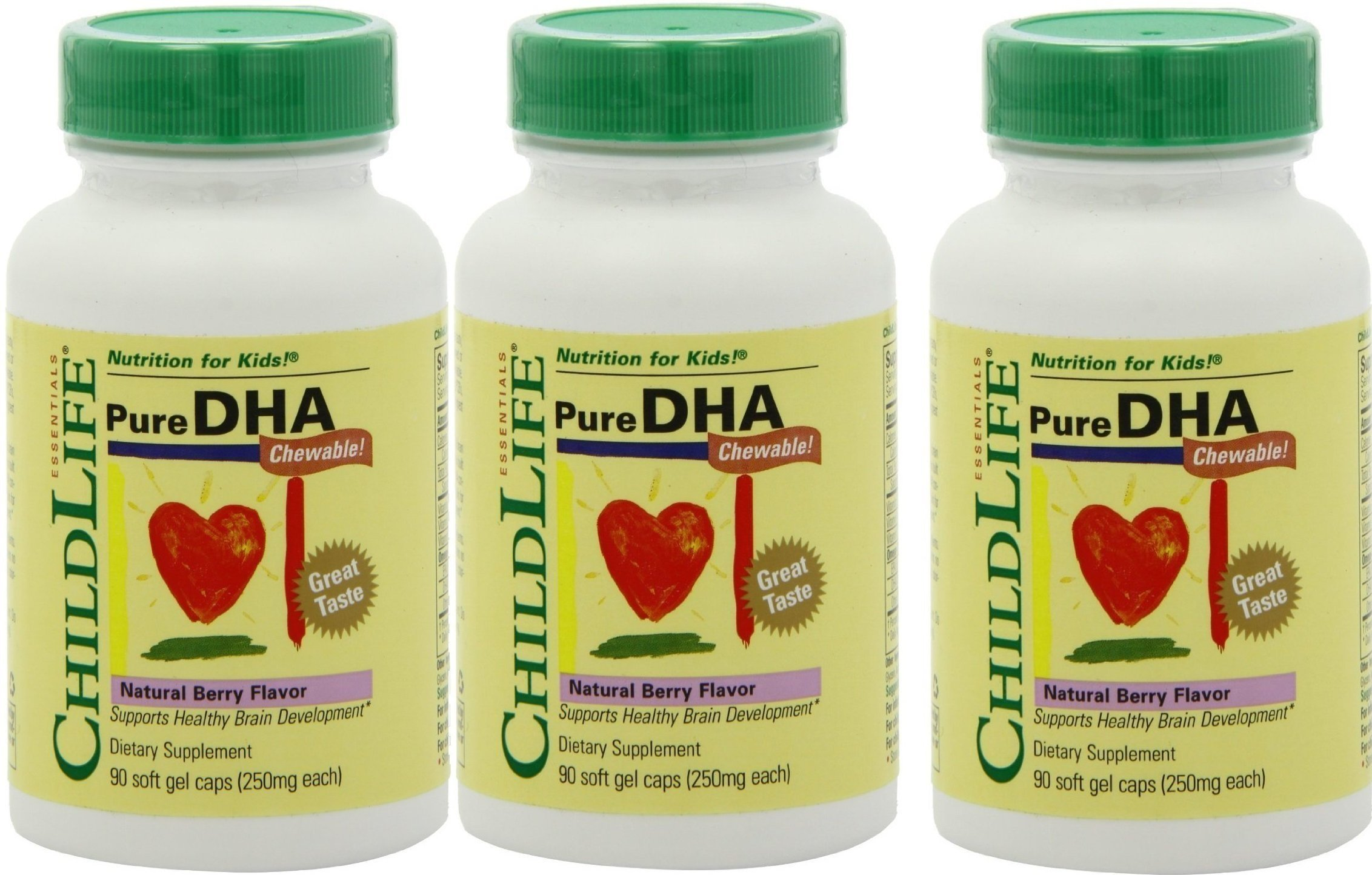 Child Life Pure DHA Dietary Supplement, 90 Soft Gel Capsules (Pack of 3) by Childlife