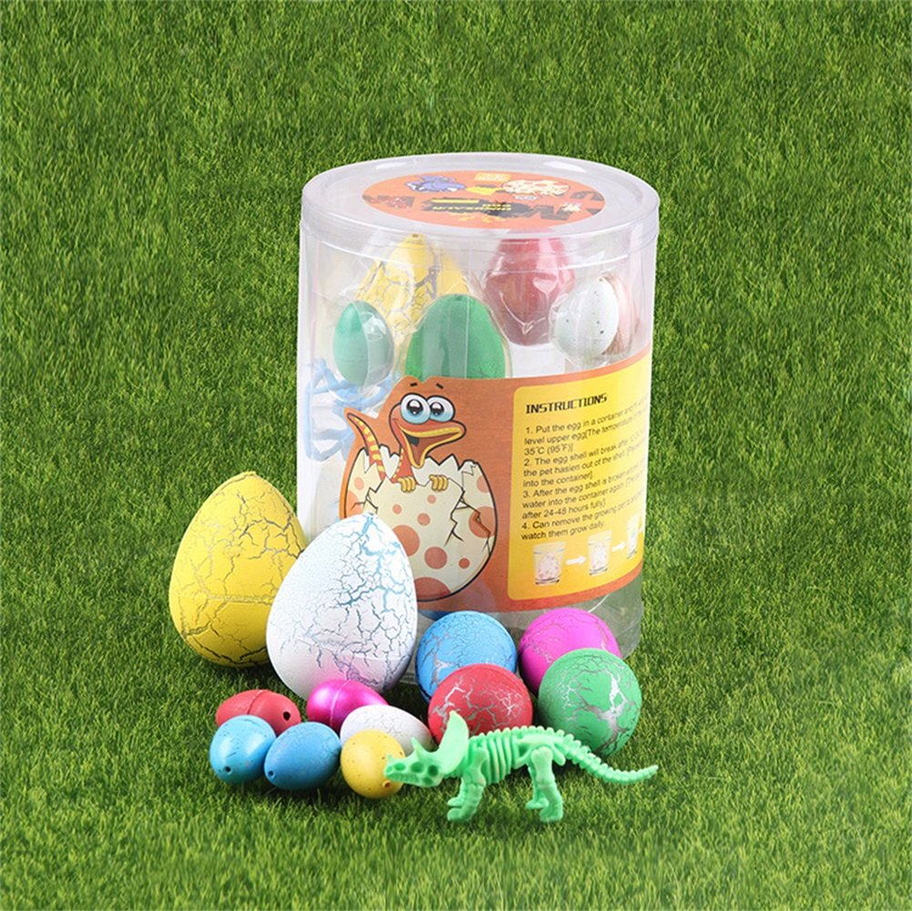 UTOPP 12 pcs Dinosaurs Eggs Assorted Size Hatching Egg Toys Growing Water Magic Cute Children Toy with Dinosaur Skeleton Model