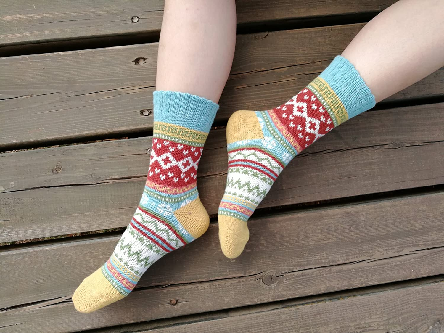 YZKKE 5Pack Womens Vintage Winter Soft Warm Thick Cold Knit Wool Crew Socks free size Multicolor