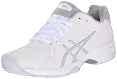ASICS Women's Gel-Court Bella Tennis Shoe, White/Silver/White, 5