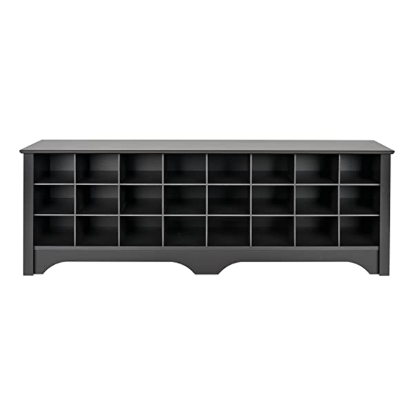 Prepac BSS-6020 24 Pair Shoe Storage Cubby Bench Black