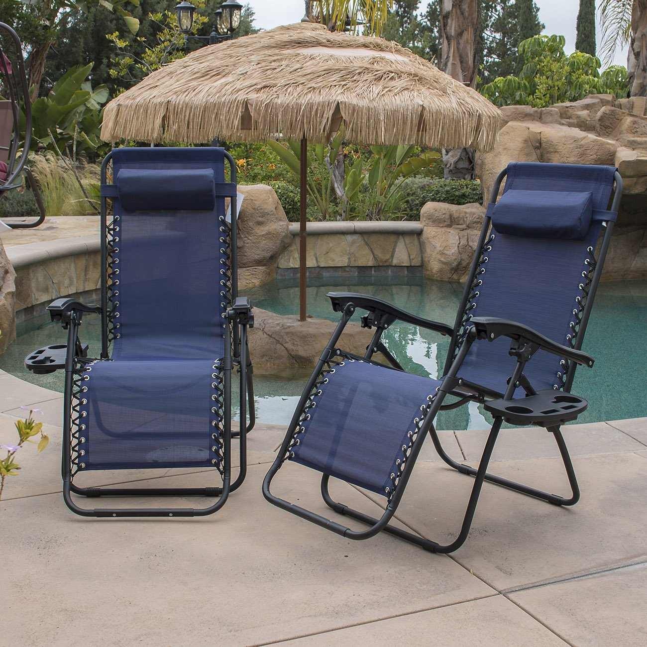 Amazon.com : Belleze Zero Gravity Chair Recliner Patio Pool Chair Cup  Holder, Utility Tray (2 PACK)   Navy Blue : Garden U0026 Outdoor