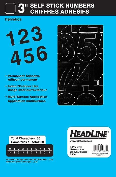 Headline Sign 31331 Stick-On Vinyl Numbers, Black, 3-Inch