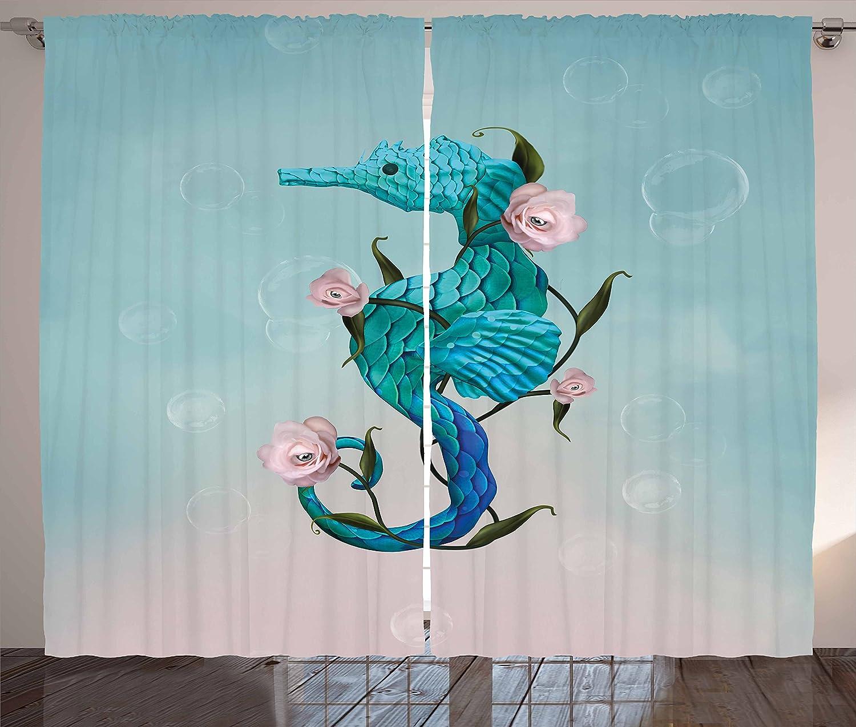 Surrealistas cortinas por Ambesonne, caballito de mar con rosa ...