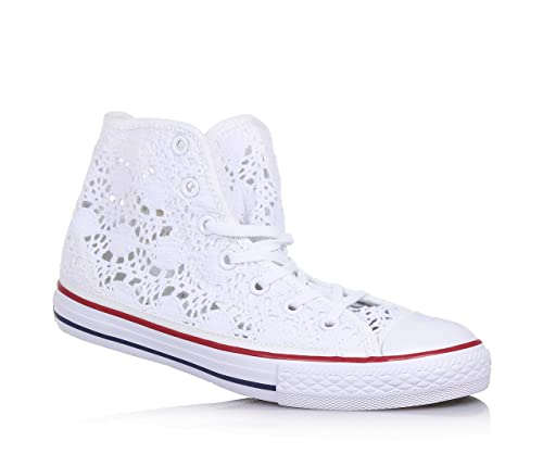 WOMEN'S Converse All Star Sneaker Alte Blu Bianco UK taglia 5 indossata una volta.
