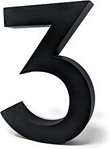 8 Inch House Numbers LED, Modern Address Signs for Homes   Soft, Exterior Glow   Black OR Stainless-Steel Weather Resistant, Durable, Wired   by JELSCO (3, Neutra Black)