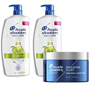 Head and Shoulders Anti Dandruff Treatment and Scalp Care 2 in 1 Shampoo and Conditioner & Molding Hair Clay, Green Apple Bundle