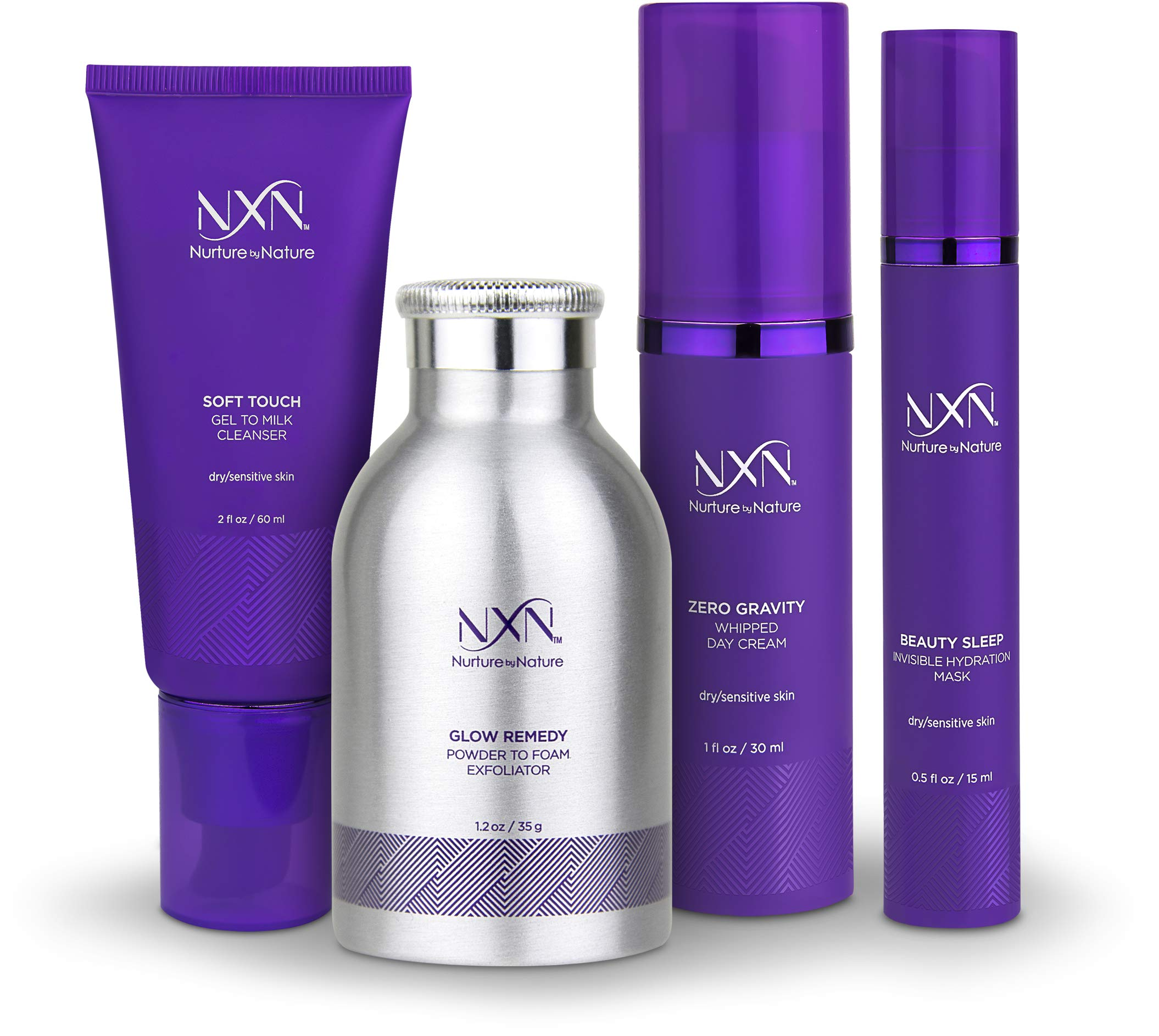 NxN Total Moisture 4-Step Anti-Aging & Dry Skin Treatment System, With Coconut, Coffee, Green Tea, Licorice Root, Sea Buckthorn Oil, Squalane, Blueberry & Grape Seed Extract by NXN