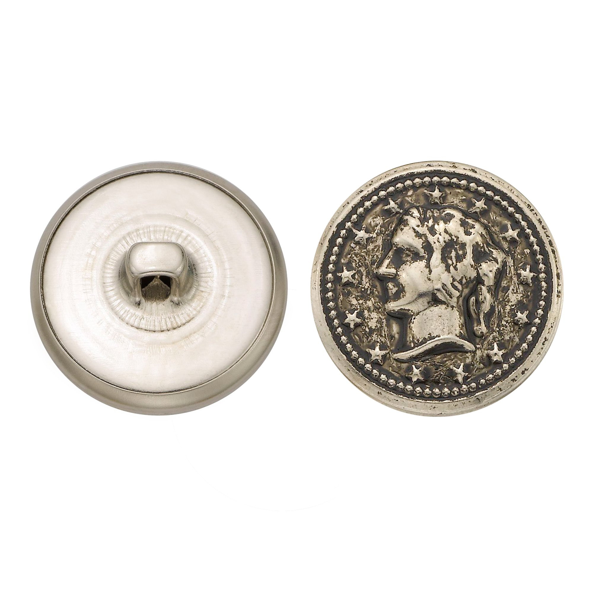 C&C Metal Products 5328 Lady Head Coin Metal Button, Size 36 Ligne, Antique Nickel, 36-Pack