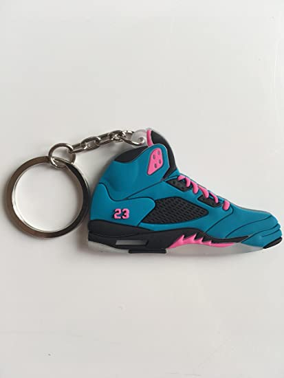 d02dd28588d14d Amazon.com   Jordan Retro 5 South Beach Custom Sneaker Keychain Shoes  Keyring AJ 23 OG   Sports   Outdoors