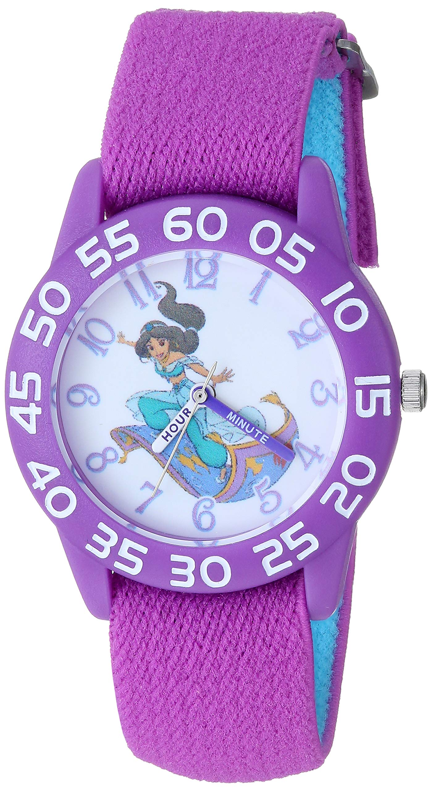 Disney Girls Aladdin Analog-Quartz Watch with Nylon Strap, Purple, 15.9 (Model: WDS000655 by Disney