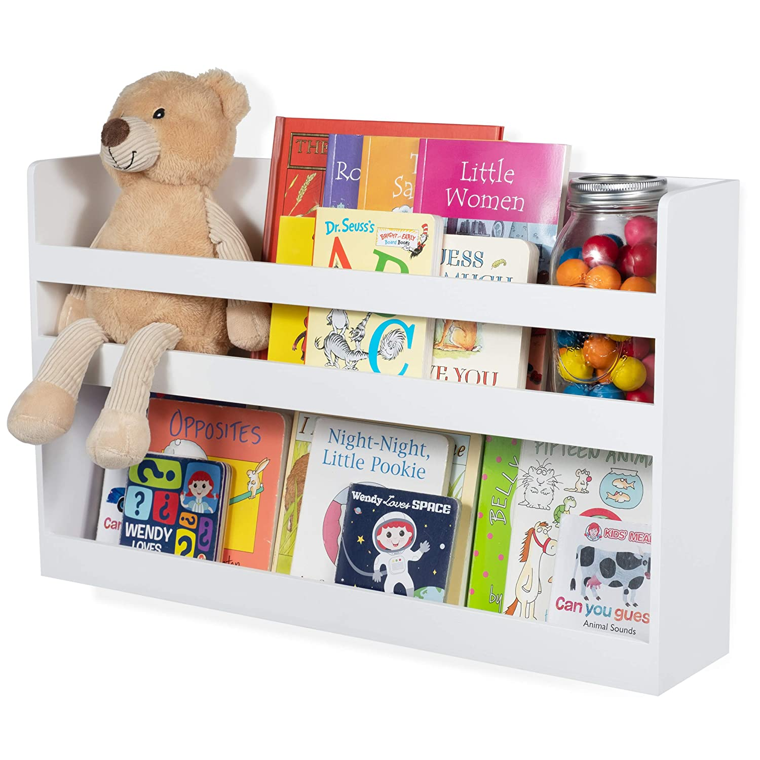 Amazon.com: Brightmaison Childrenu0027s Kids Room Wall Shelf Wood Material  Great For Bunk Bed Nursery Room Books And Toys Organization Storage  (White): Toys U0026 ...