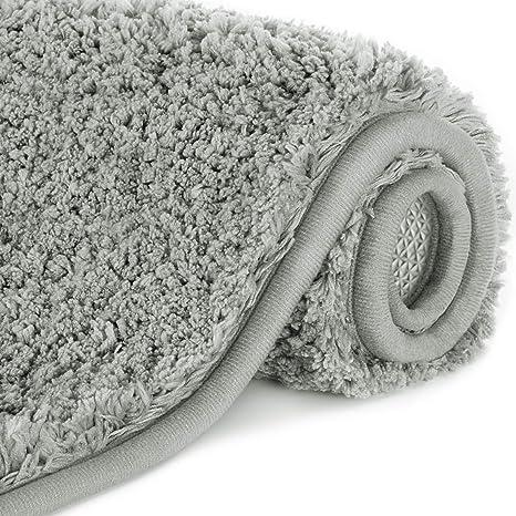 Lifewit Bathroom Rug Bath Mat 32 X20 Non Slip Soft Shower Rug Plush Microfiber Water Absorbent Thick Shaggy Floor Mats Machine Washable Grey Home Kitchen