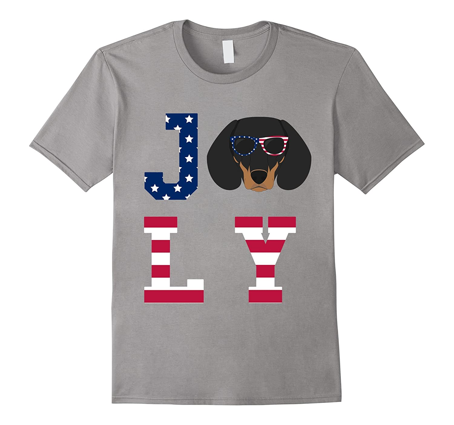 4th of July - Dachshund American Flag Dog T-Shirt-Art