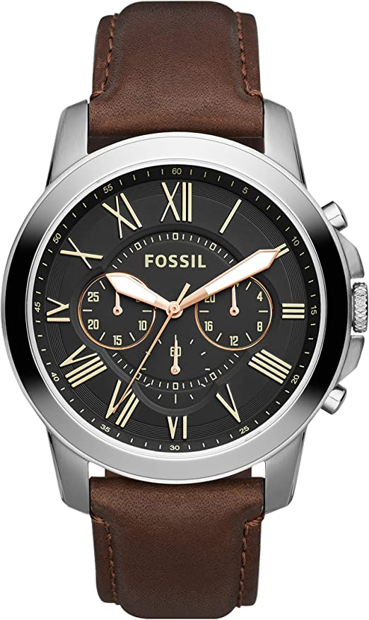 Amazon.com: Fossil Men's Grant Quartz Leather Chronograph Watch, Color: Brown (Model: FS4813IE): Fossil: Watches