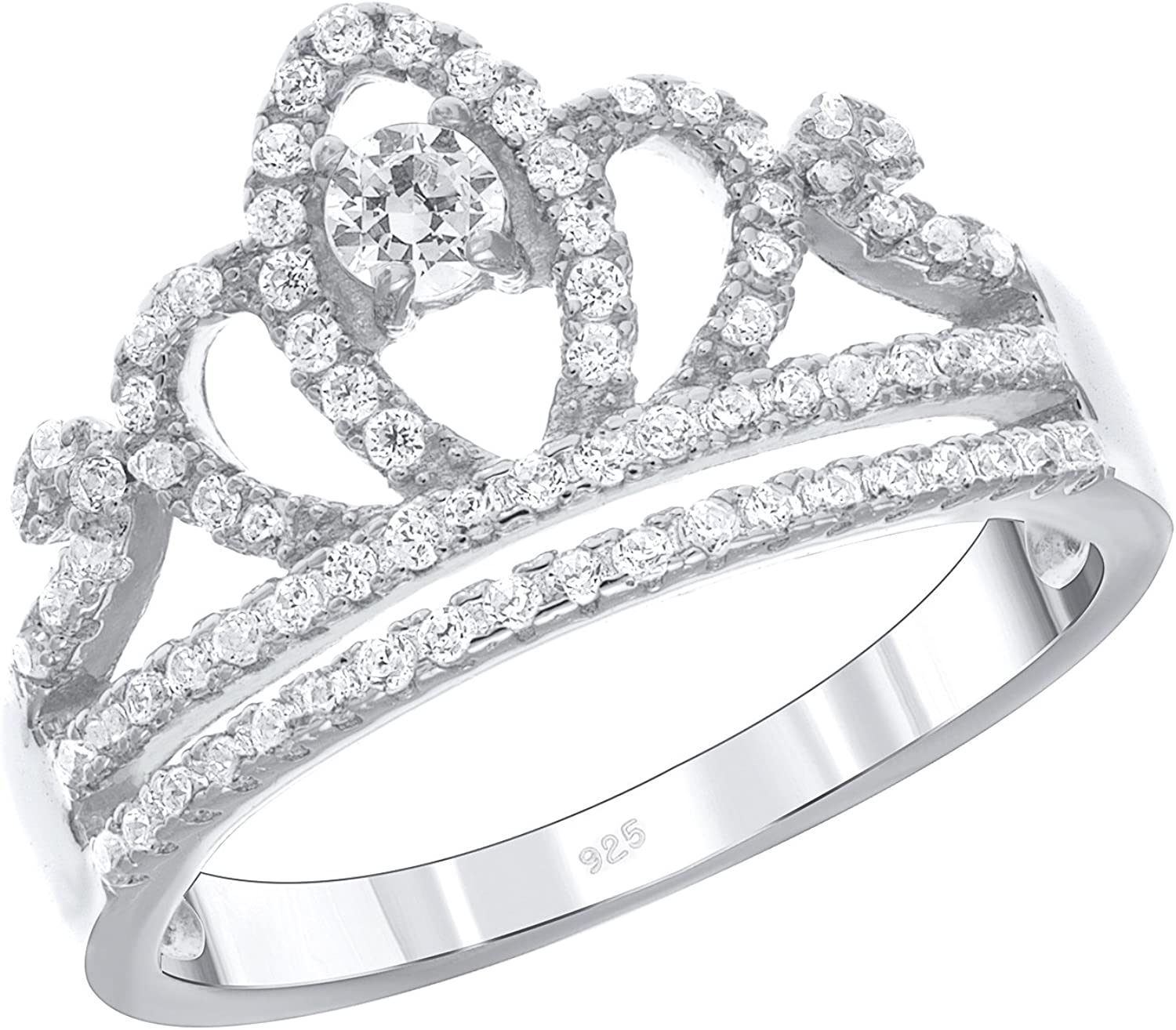 D Jewelry 925 Sterling Silver Princess Tiara Cz Crown Band Ring