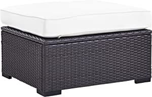 Crosley Furniture KO70127BR-WH Biscayne Outdoor Wicker Ottoman, Brown with White Cushions