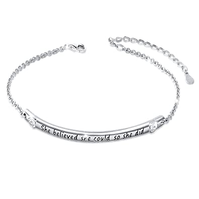 Billie Bijoux 925 Sterling Silver Engraved Inspirational Adjustable Bracelet Gift for Her, Women, Friendship