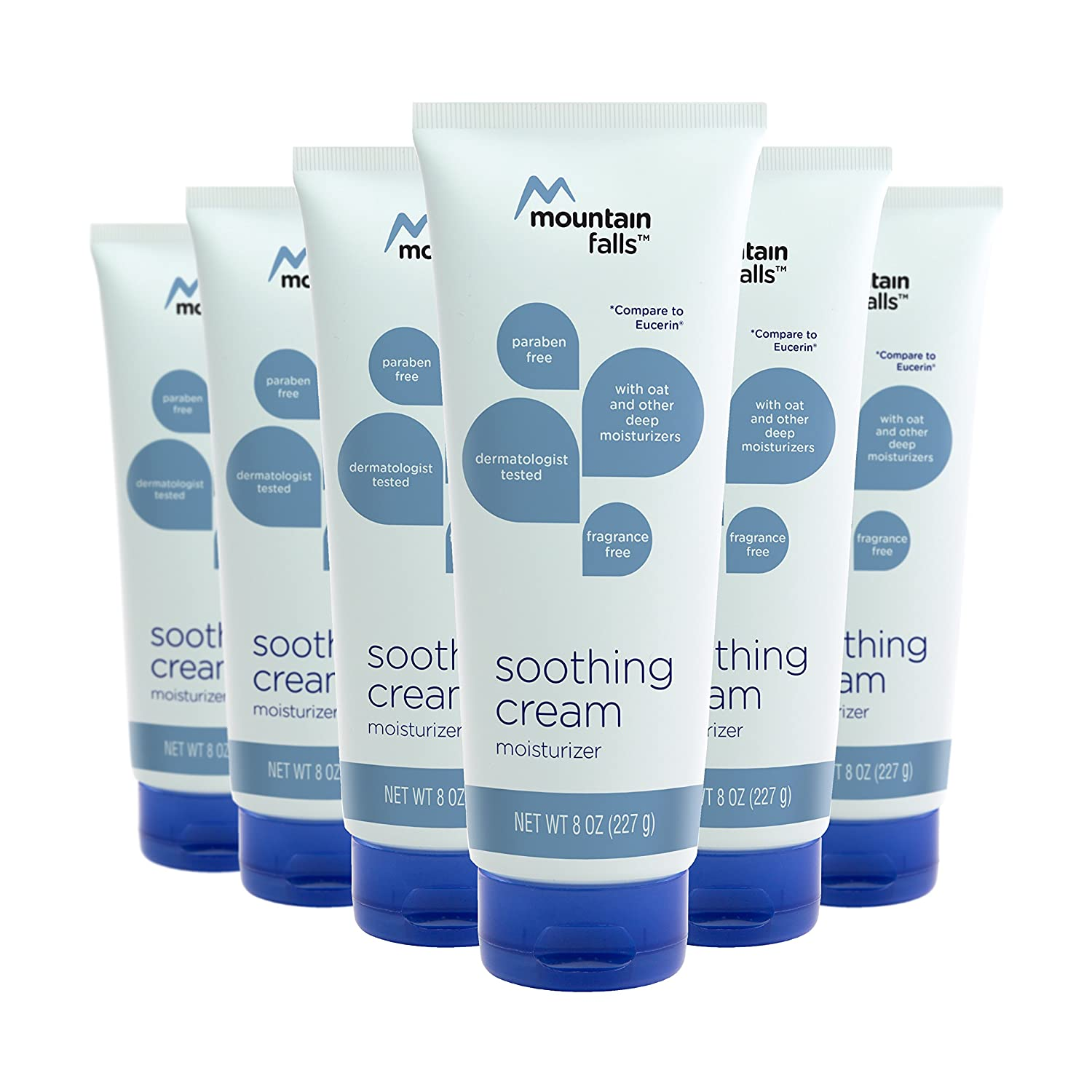 Mountain Falls Soothing Cream Moisturizer with Oat, Fragrance Free, Paraben Free, 8 Ounce (Pack of 6)
