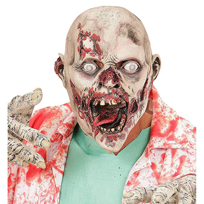 Careta zombie psicópata Antifaz de látex asesino Máscara muerto viviente Mascarilla de terror monstruo Caracterización The Walking Dead Accesorio Hallowen ...