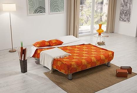 Poltrona Divano letto prontoletto rete elettrosaldata vari colori (Divano 2  posti, Arancio)