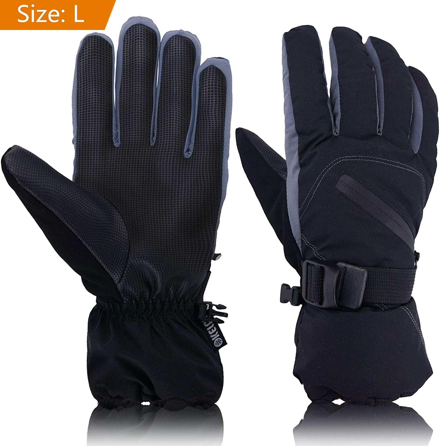 Ski Gloves Mens, OKELAY Winter Gloves Waterproof WindProof Thermal Thinsulate, Professional Winter Sport Insulated Warm Protective Gear with Zipper Pocket For Outdoor Downhill Skiing Snowboarding Motocycling Cycling
