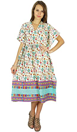 d34dfec934 Phagun Bohemian Dress Printed Cotton Caftan Maxi Nightwear Kaftan ...