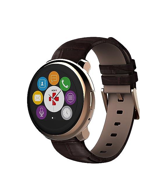 MyKronoz ZeRound - Reloj Inteligente/Pulsera de Fitness, Unisex, Smartwatch Fitnesstracker ZeRound Premium mit Lederarmband, Braun ...