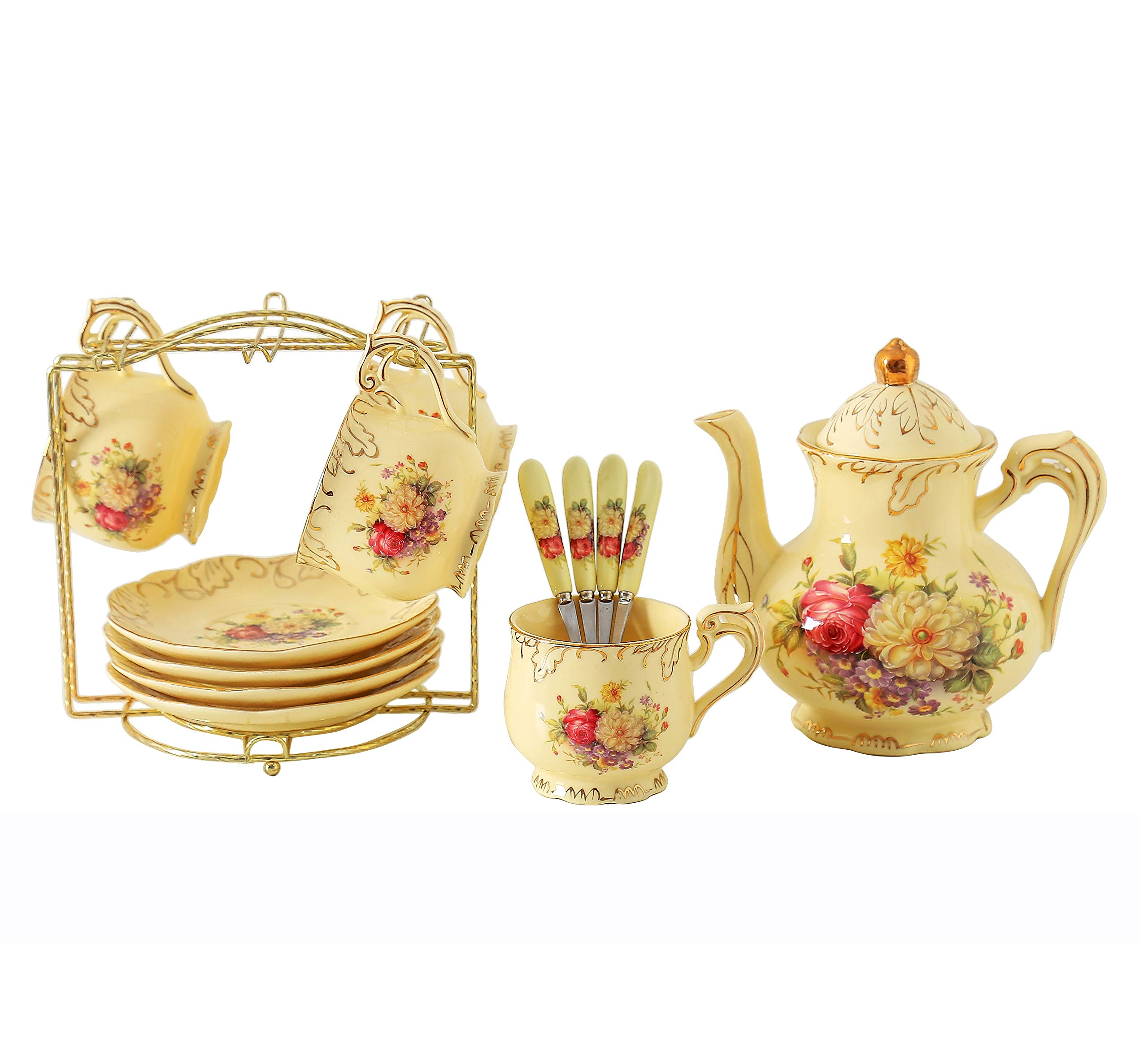 ufengke 9 Piece Creative European Luxury Tea Set, Ivory Porcelain Ceramic Coffee Set With Metal Holder, Hand Painted Red And White Rose Flower, For Wedding Decoration
