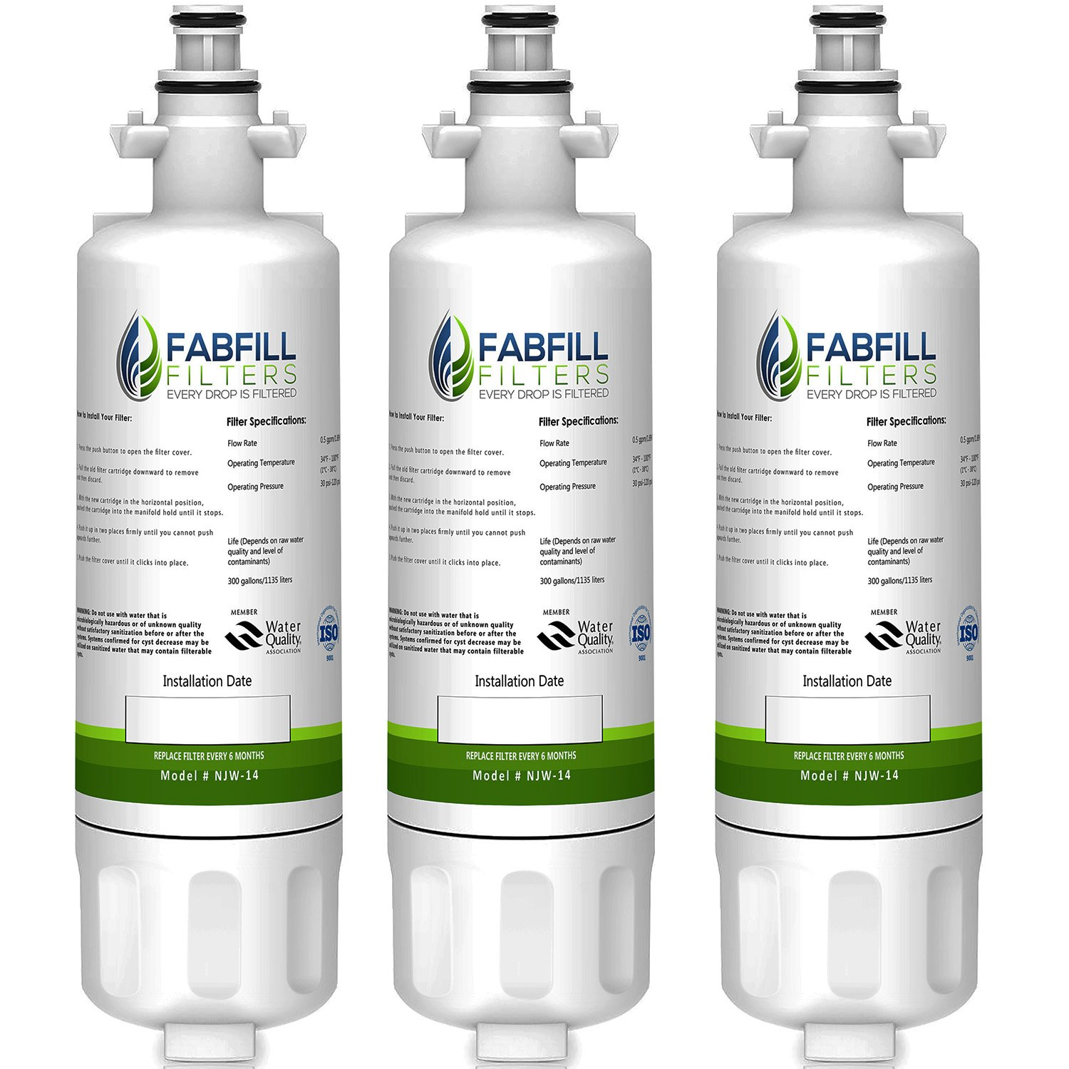 Fabfill LT700P LG Refrigerator Water Filter Compatible replacement cartridge and fits for KENMORE 9690, 46-9690, ADQ36006101, ADQ36006102 (3 Pack)