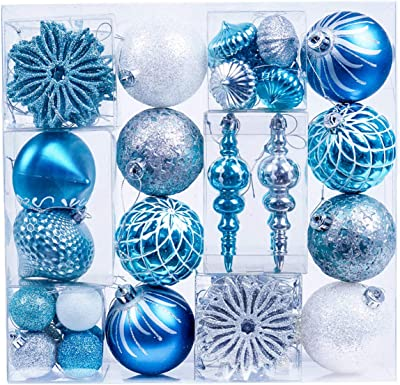 Valery Madelyn 70ct Winter Wishes Shatterproof Christmas Ball Ornaments Decoration Blue Silver, Themed with Tree Skirt(Not Included)