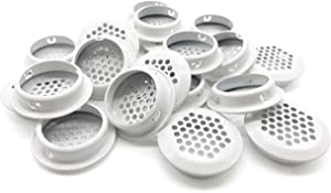 20Pcs Air Vents 35mm Circular Soffit Vent Stainless Steel Round Vent Mesh Hole Louver for Kitchen Bathroom Cabinet Wardrobe (White)