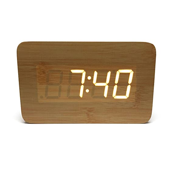 Amazon.com: Bluetooth Alarm Clock: Portable Speaker Digital Stereo Wooden Home Office Bedroom Travel LED Display Rechargeable Removable Backup Battery Time ...
