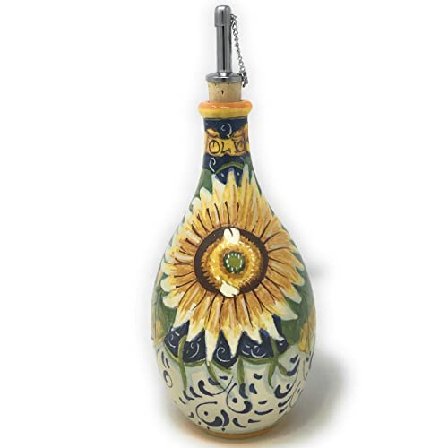 CERAMICHE D ARTE PARRINI – Italian Ceramic Art Pottery Oil Cruet Bottle Decorated Sunflower Hand Painted Made in ITALY Tuscan