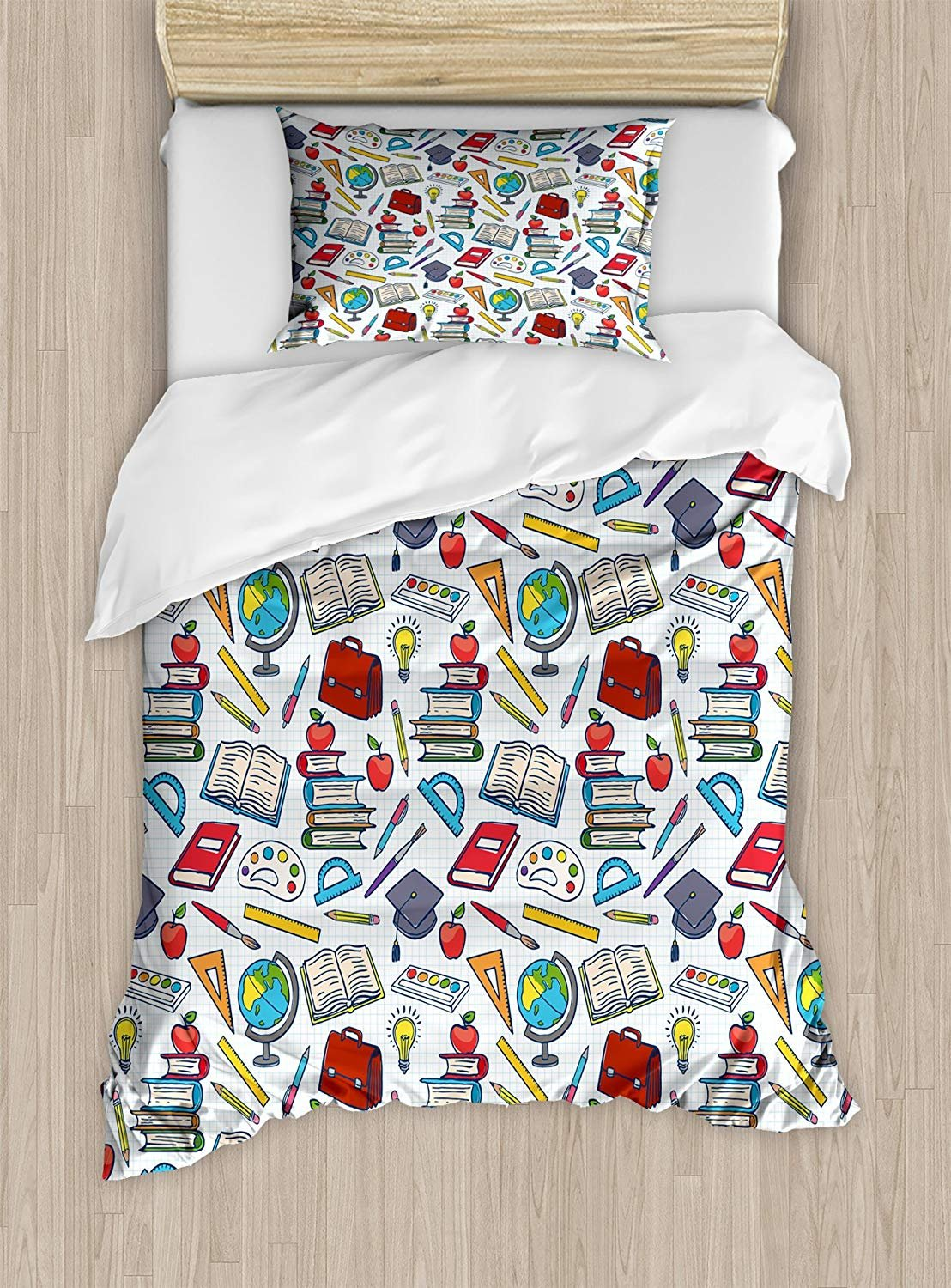 Luck Sky Kids Duvet Cover Set for Child, Elementary School Theme Student Supplies Globe Paints and Brushes Books Education, 4 Piece Bedding Set Twin Size, 1 Duvet Cover 1 Flat Sheet and 2 Pillowcases
