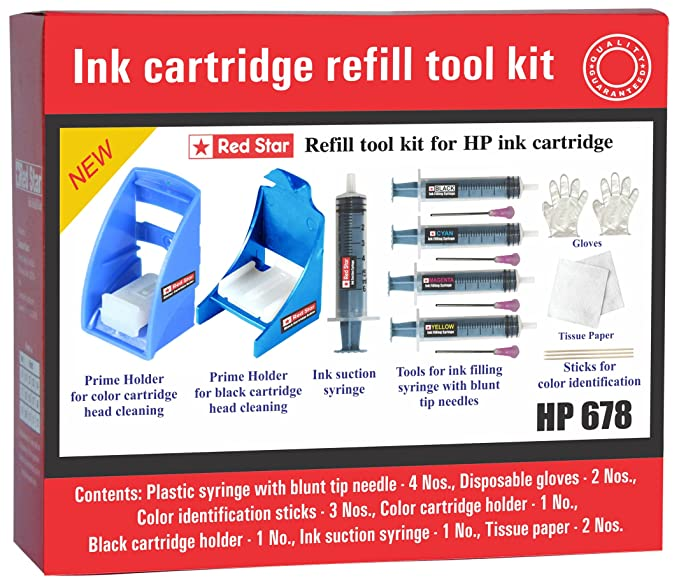 Red Star Ink Refill Tool kit for HP 678 Ink Cartridge Filling and Head Cleaning/ISuction/Priming Ink Refills   Kits