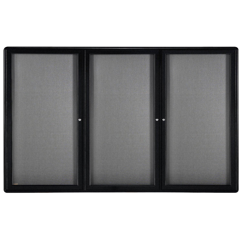 48''x72'' 3-Door Ovation Bulletin Board, Gray Fabric, Black Frame