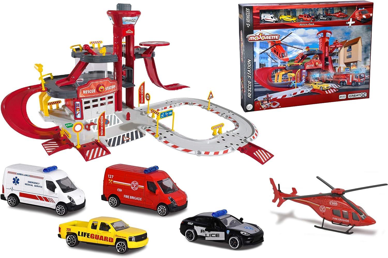 Estación de rescate Creatix con 5 vehículos (Majorette 2050019) , color/modelo surtido: Amazon.es: Juguetes y juegos
